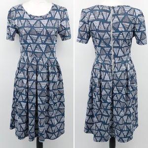 Lularoe L Amelia Dress Triangle Print Pleated Gray